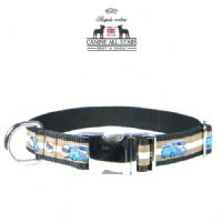DOG COLLAR - RETRO VW CAMPER VAN BLUE ON TAN AND WHITE STRIPES